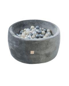 Misioo Velvet Soft suchy basen z piłeczkami okrągły Szary - zdjęcie 1