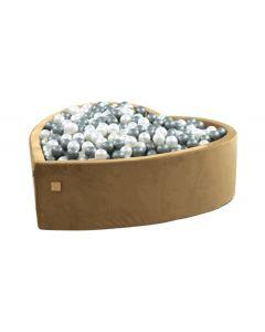 Misioo suchy basen z piłeczkami serce Velvet Soft 138cm Złoty  - zdjęcie 1