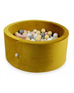 Misioo Velvet Soft suchy basen z piłeczkami okrągły złoty -zdjęcie 1
