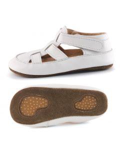 Obex buciki skórzane paputki kapcie pantofelki białe - zdjęcie 1
