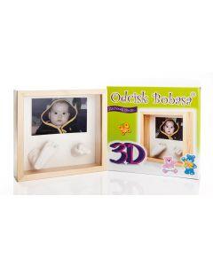 Odcisk Bobasa 3D z ramką rączki nóżki - odcisk dziecka - zdjęcie 1