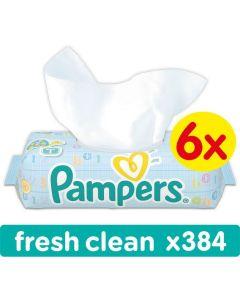 Chusteczki nawilżane Pampers Fresh Clean 6x64 szt. bez wieczka - zdjęcie 1