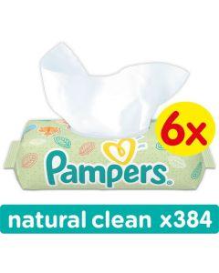 Chusteczki nawilżane Pampers Natural Clean 6x64 szt. bez wieczka - zdjęcie 1