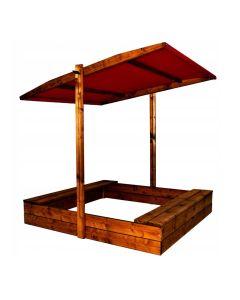 Piaskownica drewniana 120x120 z daszkiem EKO naturalna