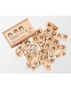 Drewniane domino dla dzieci Pilch gra twarzy emocje - zabawki dla dzieci z adhd - zdjecie 1