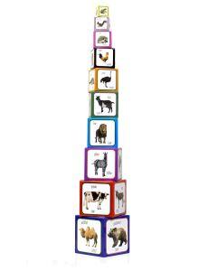 Piramida zabaw dla dzieci zwierzęta - kartonowe klocki edukacyjne - zdjęcie 1