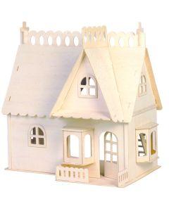 Mały domek dla lalek z gankiem puzzle drewniane 3D zdjęcie 1