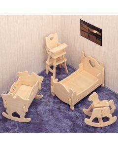 Mebelki pokój dziecięcy puzzle drewniane 3D - zdjęcie 1