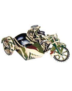 Motor z wózkiem bocznym puzzle drewniane 3D -zdjęcie 1