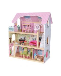 Drewniany domek dla lalek rezydencja bajkowa + lalki