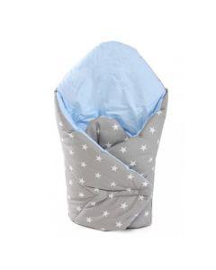 Rożek niemowlęcy becik wypełnienie antyalergiczne niebieski gwiazdki - Zdjecie 1
