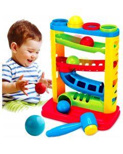 Zjeżdżalnia tor wieża z piłeczkami i młotkiem Smily Play - zdjęcie 1