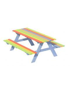 Stolik ogrodowy drewniany z ławkami dla dzieci