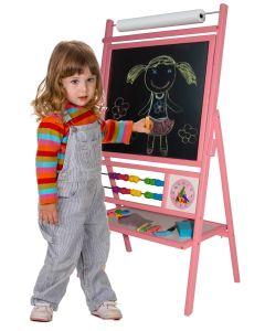 Różowa tablica dla dziewczynek suchościeralno-kredowo-magnetyczna z akcesoriami - zdjęcie 1