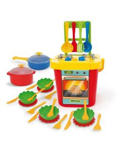 Kuchnia dla dzieci z akcesoriami 31 elementów Wader + taca - zdjęcie 1