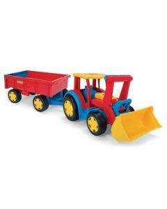 Traktor spychacz gigant z przyczepą Wader