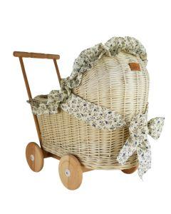 Wózek dla lalek wiklinowy z pościelą - zdjęcie 1