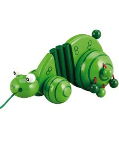 Drewniana zabawka żabka do ciągania - zdjęcie 1