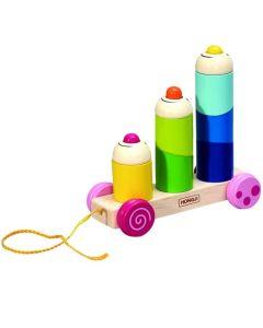 Drewniana zabawka do ciągania samochód z klaunami - zdjęcie 1