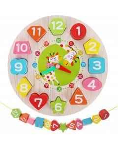 Zegar drewniany dla dzieci nauka godzin zdjecie nr1