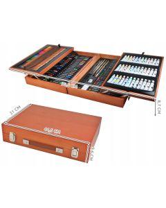 Zestaw artystyczny do malowania 174 szt w drewnianej walizce - zdjęcie 1