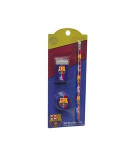 Zestaw ołówek + gumka + temperówka FC-Barcelona