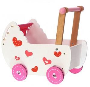 Drewniany wózek dla lalek z pościelą