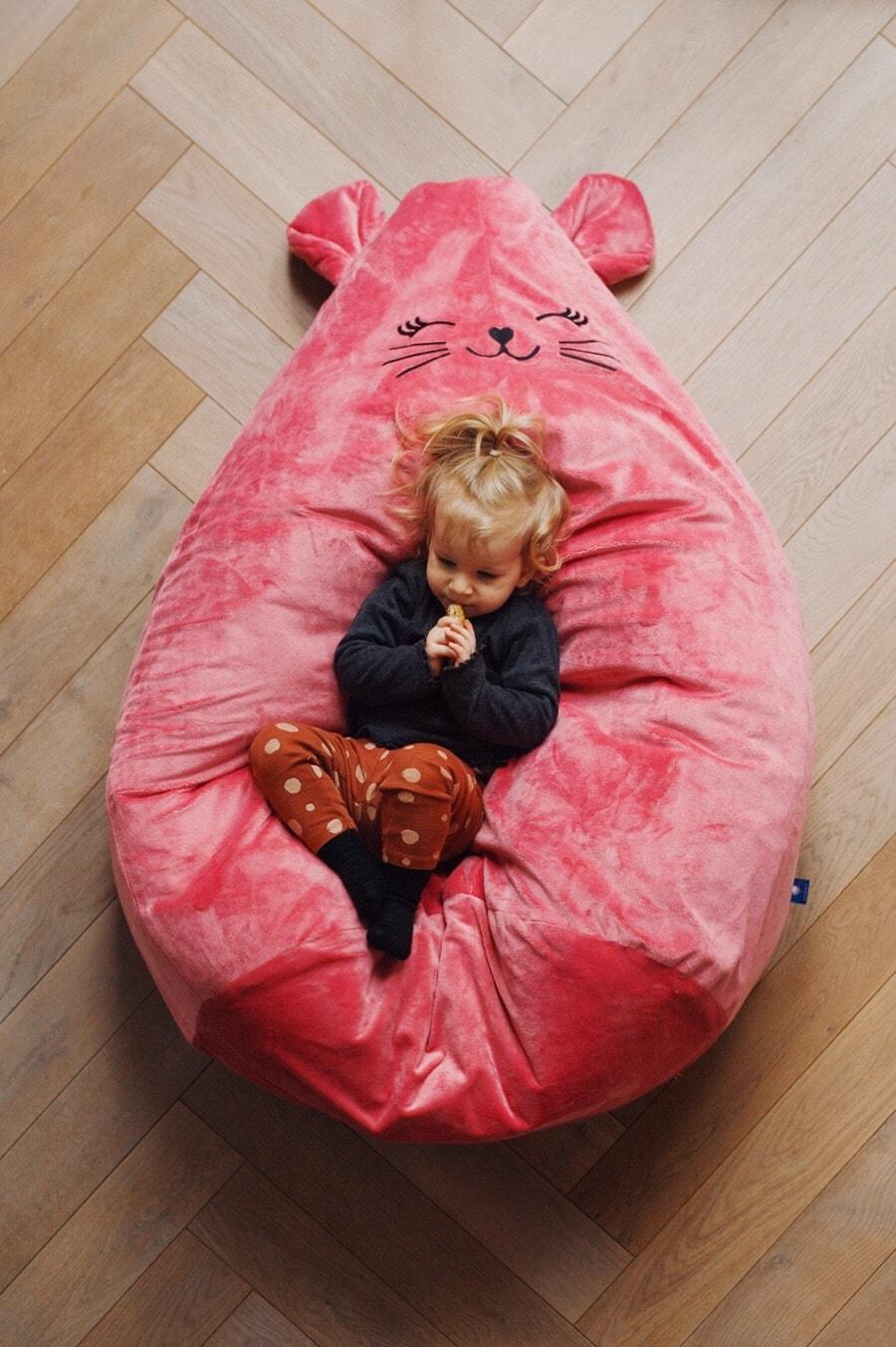 Puf fotel różowy dla dziewczynki