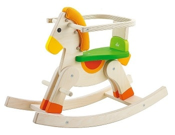 Sevi drewniany koń na biegunach z oparciem