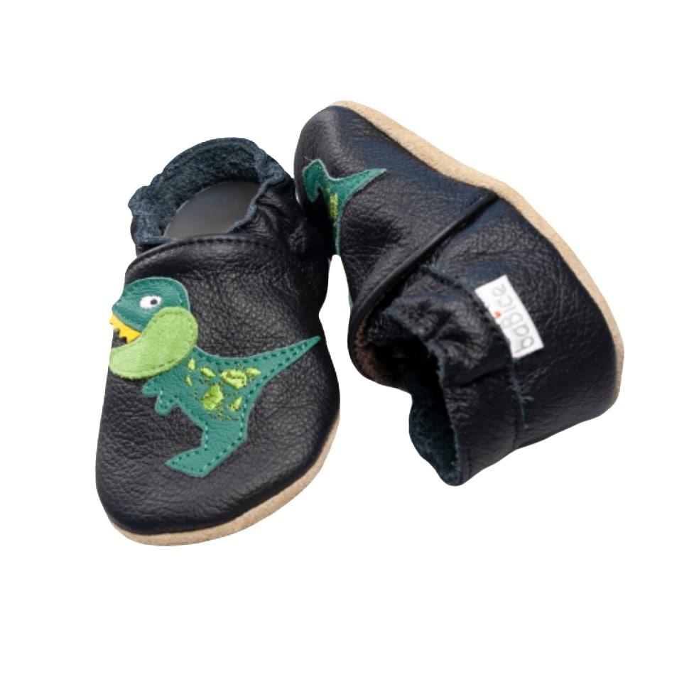 baBice buciki skórzane dla chłopca z dinozaurem
