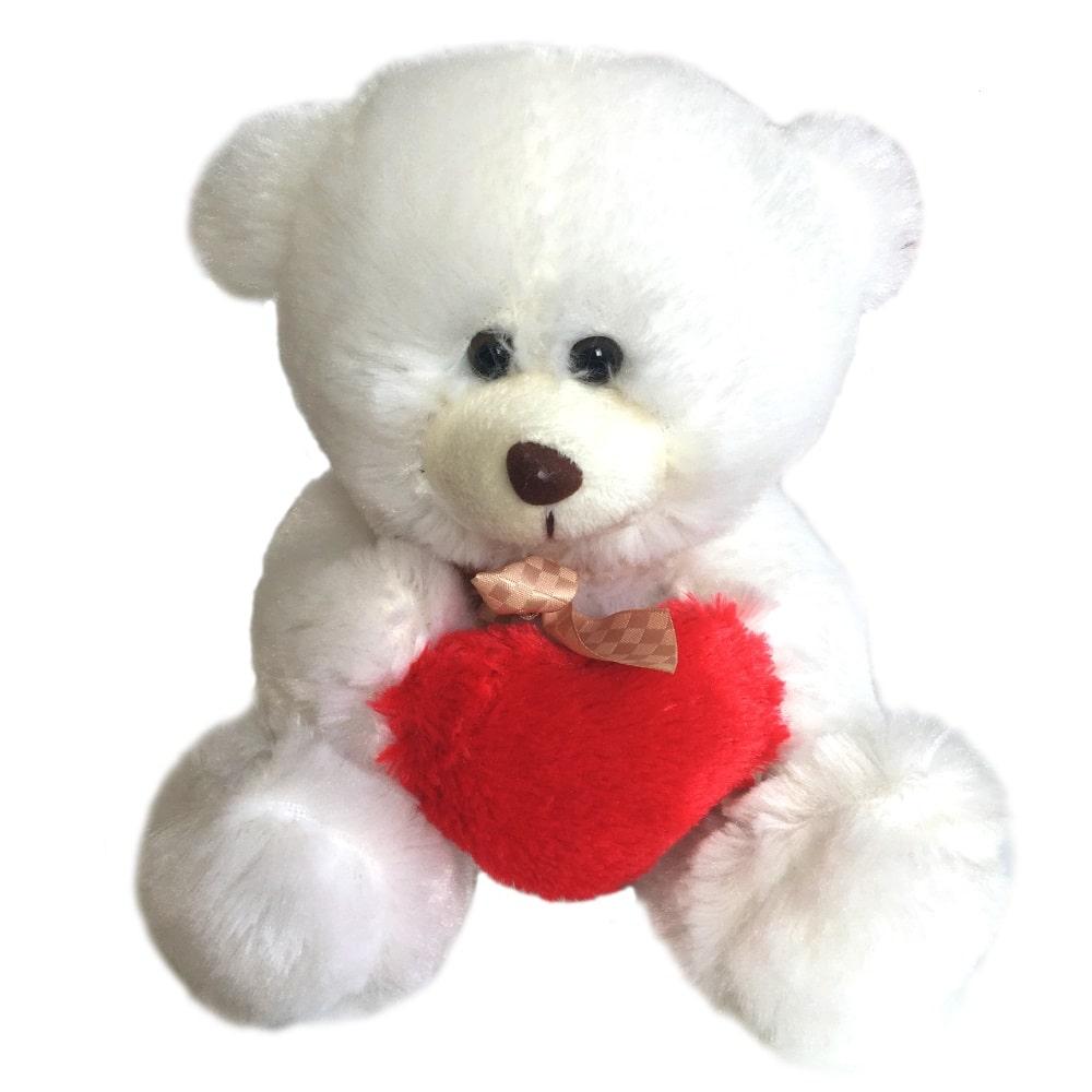 Beppe pluszowy biały miś z sercem