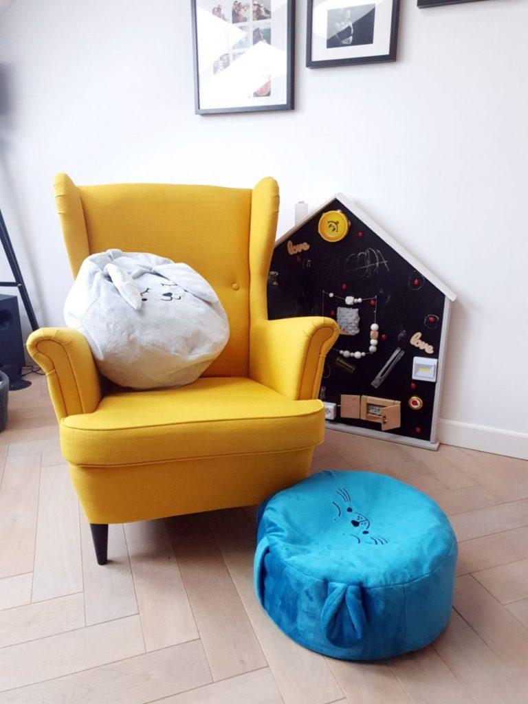 kidspace pufa dla dziecka niebieska foka