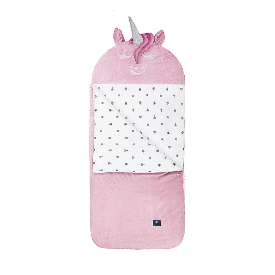 Kidspace śpiworek dziewczęcy pudrowy różowy jednorożec