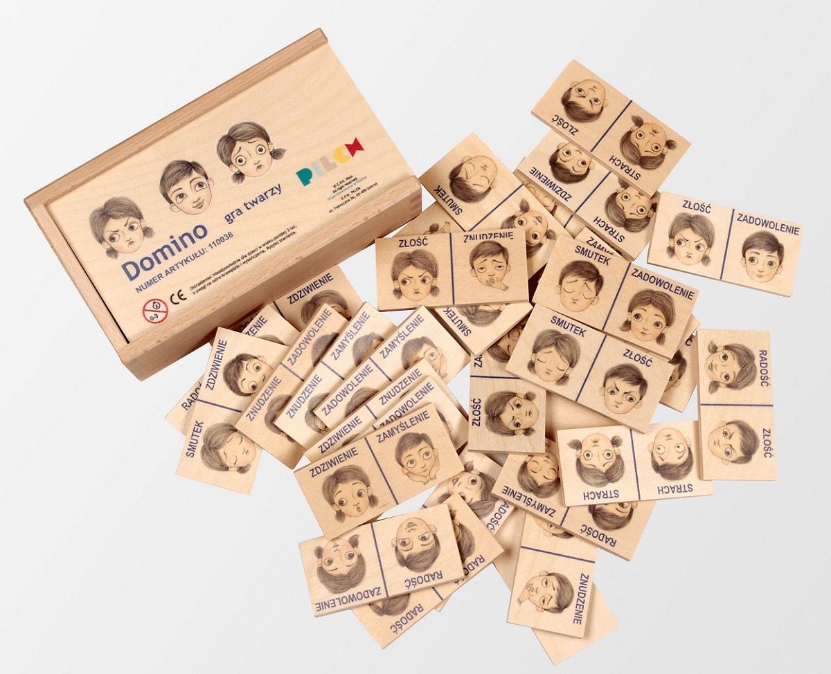 Drewniane domino dla dzieci Pilch gra twarzy