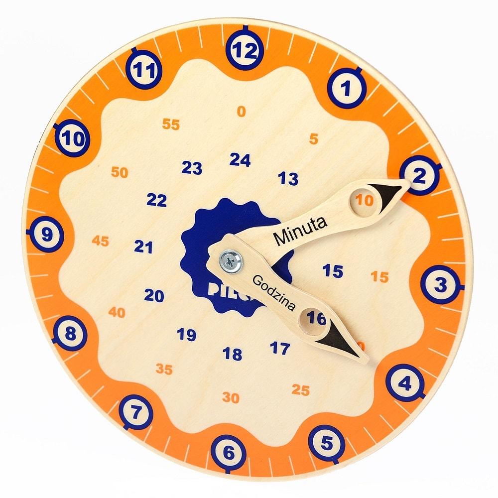 Drewniany zegar z ruchomymi wskazówkami do nauki godzin
