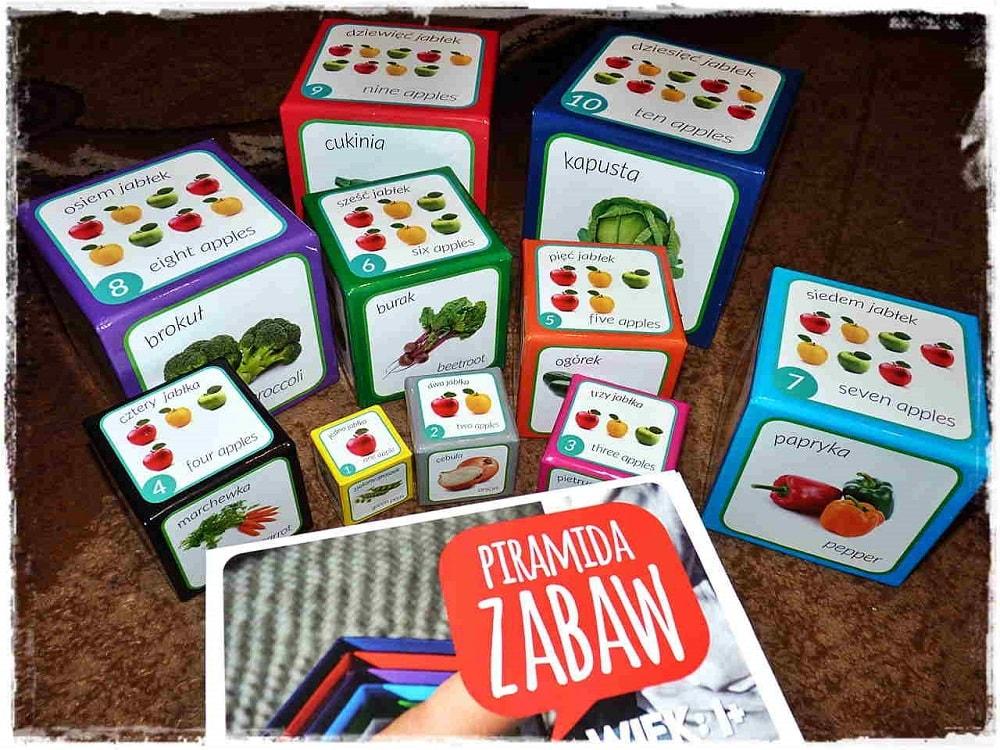 Piramida zabaw owoce i warzywa - dwujęzyczna wieża dla dzieci do nauki i zabawy