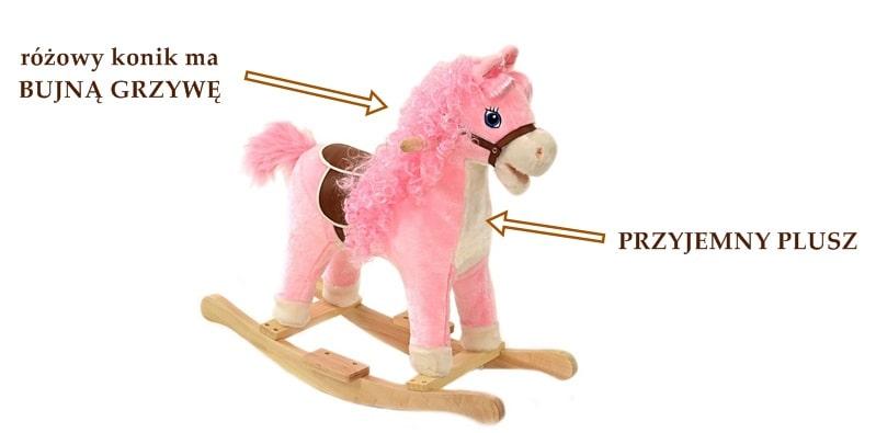 Interaktywny koń na biegunach różowy